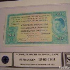 Reproducciones billetes y monedas: BILLETE ANTIGUO SUIZA 50 FRANCOS AŃO 1945. Lote 152546298
