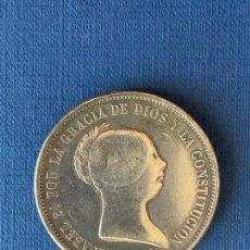 Reproducciones billetes y monedas: MONEDA FALSA 20 REALES 1855 MADRID. COINCIDENTE. . Lote 152635518