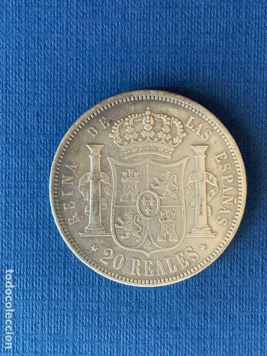 Reproducciones billetes y monedas: MONEDA FALSA 20 REALES 1864 MADRID ISABEL II. COINCIDENTE. - Foto 2 - 152654774