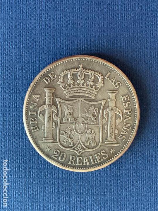 Reproducciones billetes y monedas: MONEDA FALSA 20 REALES 1861 MADRID ISABEL II. COINCIDENTE. - Foto 2 - 152656246