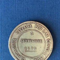 Reproducciones billetes y monedas: MONEDA FALSA 5 PESETAS 1875 REVOLUCION CANTONAL. COINCIDENTE.. Lote 152656402