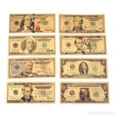 Reproducciones billetes y monedas: COLECCION 8 BILLETES DÓLARES A COLOR 99.9% PURE ORO 24 KT. - EXCELENTE CONDICIÓNES. Lote 157367046