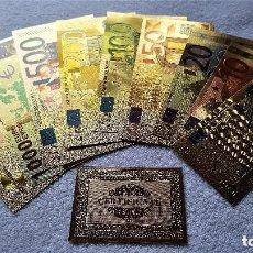 Reproducciones billetes y monedas: ORIGINAL COLECCION 9 BILLETES EUROS A COLOR 99.9% PURE ORO 24K. CON CERTIFICADO AUTENTICIDAD NUEVOS. Lote 176385992