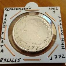 Reproducciones billetes y monedas: REPRODUCCION 8 REALES CARLOS III BAÑO DE PLATA NUEVA ENCARTONADA. Lote 155255352