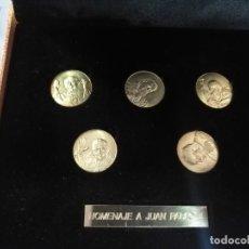Reproducciones billetes y monedas: MONEDAS DE LA VENIDA DEL PAPA JUAN PABLO II HOMENAJE . Lote 155295854