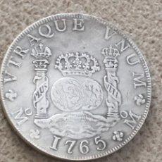 Reproducciones billetes y monedas: COLUMNARIOS 8 REALES CARLOS III 1765 25 GRAMOS REPRODUCCION NO PLATA. Lote 155602490
