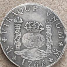 Reproducciones billetes y monedas: COLUMNARIOS 8 REALES CARLOS III 1766 23 GRAMOS REPRODUCCION NO PLATA. Lote 155602765
