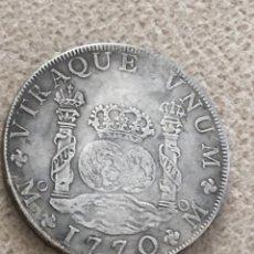 Reproducciones billetes y monedas: COLUMNARIOS 8 REALES CARLOS III 1770 23 GRAMOS REPRODUCCION NO PLATA. Lote 155603490