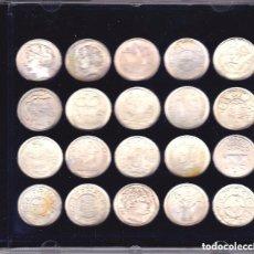 Reproducciones billetes y monedas: COLECCION COMPLETA DE 20 MONEDAS CATALANAS DE PLATA 800/1000 DE LA VANGUADIA CON LAS FICHAS. Lote 155811302
