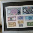 Reproducciones billetes y monedas: REPRODUCCIÓN ENMARCADA DE BILLETES DE LIRA HISTÓRICOS. Lote 157901150