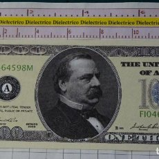 Reproducciones billetes y monedas: BILLETE EEUU CONMEMORATIVO. DÓLAR. CLEVELAND 22 PRESIDENTE ESTADOS UNIDOS. DÓLARES. PERFECTO. . Lote 158985330