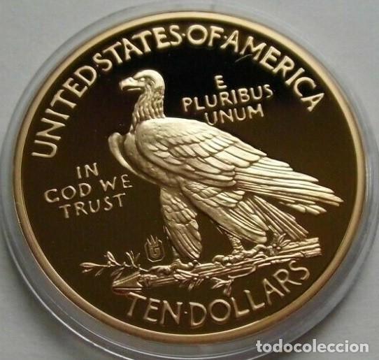 Reproducciones billetes y monedas: BONITA REPLICA DEL GOLD INDIAN EAGLE 1933 TEN DOLLARS PROCEDENTE DE ESTADOS UNIDOS EDICION LIMITADA - Foto 2 - 159066082
