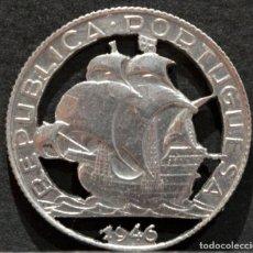 Reproducciones billetes y monedas: MONEDA CALADA DE PLATA BARCO PORTUGAL 2,5 ESCUDOS DE 1946. Lote 159094566
