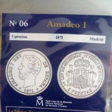 Reproducciones billetes y monedas: REPRODUCCIÓN MONEDA AMADEO I , 5 PESETAS 1871 CON BAÑO DE PLATA PURA. Lote 159130218