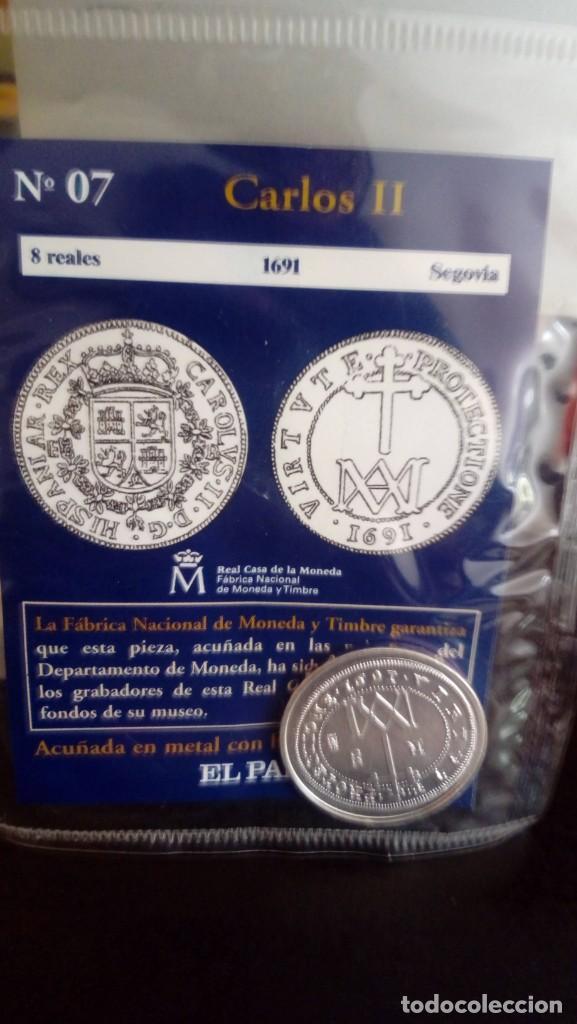 REPRODUCCIÓN MONEDA 8 REALES 1691 CARLOS II CON BAÑO DE PLATA PURA (Numismática - Reproducciones)