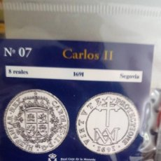 Reproducciones billetes y monedas: REPRODUCCIÓN MONEDA 8 REALES 1691 CARLOS II CON BAÑO DE PLATA PURA. Lote 159130374