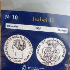 Reproducciones billetes y monedas: REPRODUCCIÓN MONEDA 100 REALES 1855 CON BAÑO DE ORO PURO. Lote 159130918