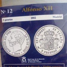 Reproducciones billetes y monedas: REPRODUCCIÓN MONEDA 5 PESETAS 1882 ALFONSO XII CON BAÑO DE PLATA PURA. Lote 159131326
