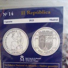 Reproducciones billetes y monedas: REPRODUCCIÓN MONEDA 1 PESETA 1933 II REPÚBLICA CON BAÑO DE PLATA PURA. Lote 159131778