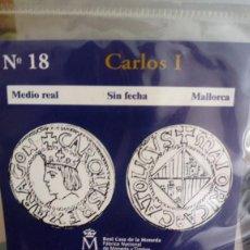 Reproducciones billetes y monedas: REPRODUCCIÓN MONEDA MEDIO REAL CARLOS I CON BAÑO DE PLATA PURA. Lote 159132674