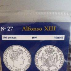 Reproducciones billetes y monedas: REPRODUCCIÓN MONEDA 100 PESETAS 1897 ALFONSO XIII CON BAÑO DE ORO PURO. Lote 159133898