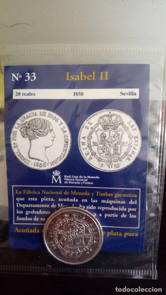 REPRODUCCIÓN MONEDA 20 REALES 1850 ISABEL II CON BAÑO DE PLATA PURA (Numismática - Reproducciones)