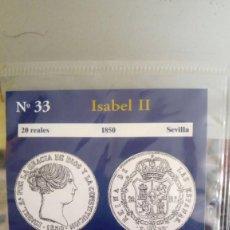 Reproducciones billetes y monedas: REPRODUCCIÓN MONEDA 20 REALES 1850 ISABEL II CON BAÑO DE PLATA PURA. Lote 159134818