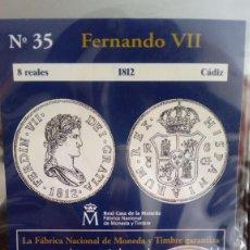 Reproducciones billetes y monedas: REPRODUCCIÓN MONEDA 8 REALES 1812 FERNANDO VII CON BAÑO DE PLATA PURA. Lote 159135118