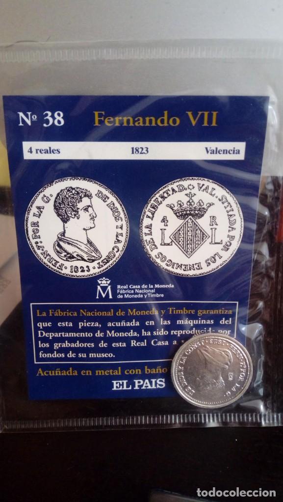 REPRODUCCIÓN MONEDA 4 REALES 1823 FERNANDO VII CON BAÑO DE PLATA PURA (Numismática - Reproducciones)