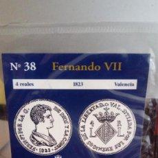 Reproducciones billetes y monedas: REPRODUCCIÓN MONEDA 4 REALES 1823 FERNANDO VII CON BAÑO DE PLATA PURA. Lote 159135506
