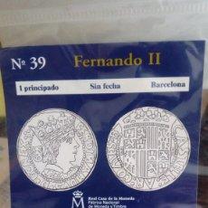 Reproducciones billetes y monedas: REPRODUCCIÓN MONEDA 1 PRINCIPADO FERNANDO II CON BAÑO DE ORO PURO. Lote 159135630