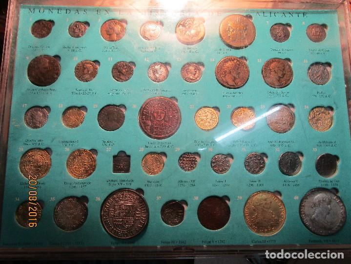 Reproducciones billetes y monedas: HISTORIA DE ALICANTE BILLETES Y MONEDAS COMPLETO ALBUM Y VITRINA DE MONEDAS - Foto 4 - 159837954