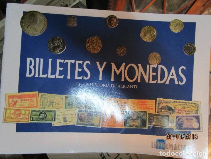 Reproducciones billetes y monedas: HISTORIA DE ALICANTE BILLETES Y MONEDAS COMPLETO ALBUM Y VITRINA DE MONEDAS - Foto 5 - 159837954