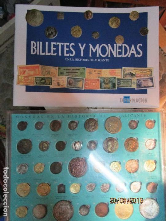 Reproducciones billetes y monedas: HISTORIA DE ALICANTE BILLETES Y MONEDAS COMPLETO ALBUM Y VITRINA DE MONEDAS - Foto 3 - 159837954