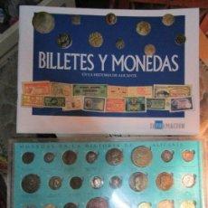 Reproducciones billetes y monedas: HISTORIA DE ALICANTE BILLETES Y MONEDAS COMPLETO ALBUM Y VITRINA DE MONEDAS. Lote 159837954