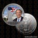 Reproducciones billetes y monedas: MONEDA CONMEMORATIVA PRESIDENTE USA GEORGE W. BUSH 2001-2009 | SILVER PLATED - 40.MM DIAMETRO. Lote 160014154