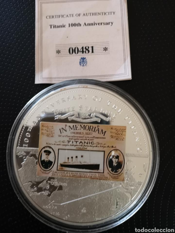 Reproducciones billetes y monedas: MEDALLA O MONEDA CONMEMORATIVA DE LOS 100 AÑOS DE LA TRAGEDIA DEL TITANIC. - Foto 4 - 160231172