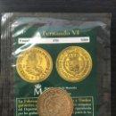 Reproducciones billetes y monedas: MONEDA REPRODUCCIÓN 8 ESCUDOS ESPAÑA FERNANDO VI 1752 LIMA FNMT BAÑO DE ORO. Lote 160615738