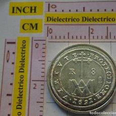 Reproducciones billetes y monedas: MONEDA ESPAÑOLA. 7. 8 REALES CARLOS II 1691 SEGOVIA. CON BAÑO DE PLATA. REPRODUCCIÓN EL PAÍS. . Lote 161172714