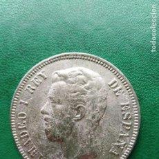 Reproducciones billetes y monedas: DURO DE PLATA 5 PESETAS AMADEO I 1871 ESPAÑA REPLICA . Lote 161461150
