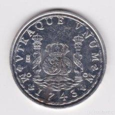 Reproducciones billetes y monedas: FELIPE V : 8 REALES 1743 MEJICO ( REPRODUCCIÓN FNMT BAÑADA EN PLATA ) . Lote 161573918