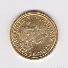 Reproducciones billetes y monedas: FELIPE V : 8 ESCUDOS 1709 MADRID ( REPRODUCCÓN FNMT BAÑADA EN ORO ) . Lote 161574326