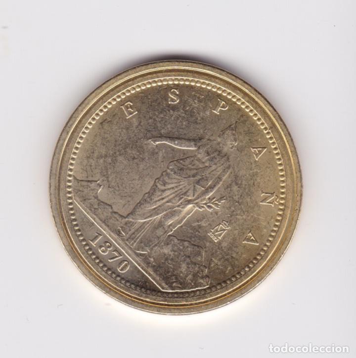 PRIMERA REPUBLICA : 100 PESETAS 1870 ( REPRODUCCIÓN FNMT BAÑADA EN ORO ) (Numismática - Reproducciones)
