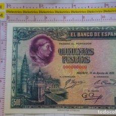 Reproductions billets et monnaies: REPRODUCCIÓN BILLETE FACSÍMIL DE ESPAÑA. MADRID 15 AGOSTO 1928. 500 PESETAS. Lote 162591562