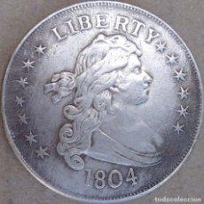 Reproducciones billetes y monedas: MONEDA DE 1804 USA CON BAÑO DE PLATA. Lote 180495711