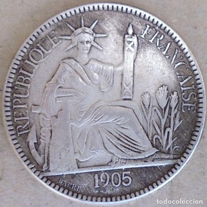 MONEDA DE LA REPÚBLICA FRANCESA 1905 CON BAÑO DE PLATA (Numismática - Reproducciones)