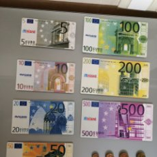 Reproducciones billetes y monedas: LOTE SET COMPLETO MONEDAS Y BILLETES DE EURO PVC EDUCATIVO MINILAND. Lote 163462844