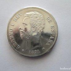 Reproducciones billetes y monedas: AMADEO I * 5 PESETAS 1871*71 SD M * PLATA. Lote 163520530