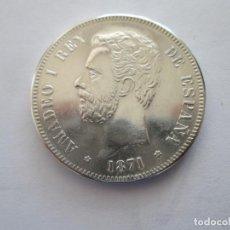 Reproducciones billetes y monedas: AMADEO I * 5 PESETAS 1871*71 SD M * PLATA. Lote 163521810