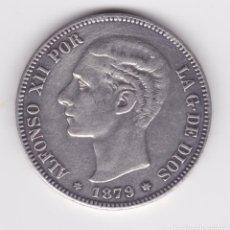 Reproducciones billetes y monedas: ALFONSO XII : 5 PESETAS 1879 18-79) EMM ( BONITA REPRODUCCIÓN ). Lote 163558178